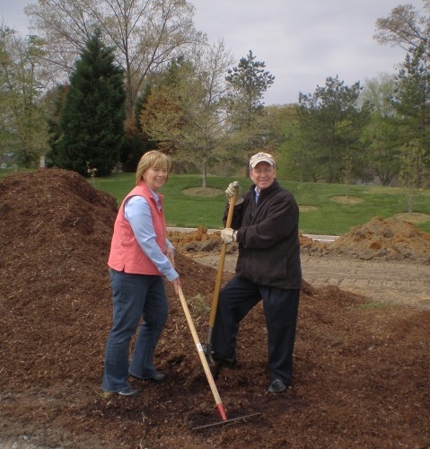 Feedmore President/CEO Fay Lohr (left) and Lewis Ginter Botanical Garden Executive Director Frank Robinson help break ground on the Community Kitchen Garden