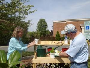 Garden staff member Debbe Peck giving a plant demo