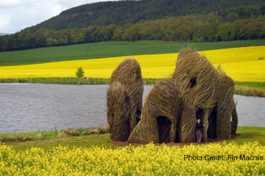 """Close Ties"" a Patrick Dougherty sculpture commisioned by the Scottish Basketmakers Circle in Dingwall, Scotland.  What will he create at Lewis Ginter Botanical Garden?"