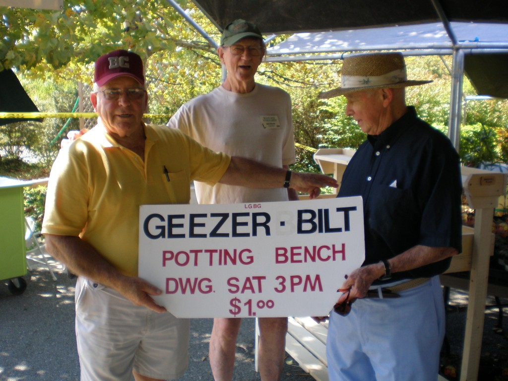 """Lewis Ginter's own """"Geezers"""" will raffle off their hand-crafted potting bench at the plant sale."""