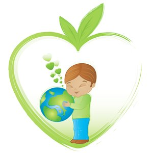 Child hugging the earth