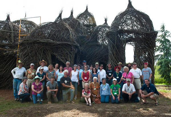 Volunteers who worked on the stick sculpture. Photo by Don Williamson