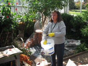 Nancy Butler mixing the first batch of paper mache'.