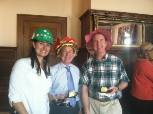 "Lewis Ginter Botanical Garden staff had a ""fancy hat"" birthday party for Grace Arents to kick off Heritage Weekend (we had our own interpretations of ""fancy hats""). Pictured here from left to right, Grace Chapman, Frank Robinson, and Larry Bartenstein."