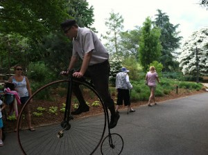Ken Gray on a historic  big wheel bike (I think he was dismounting in this one).