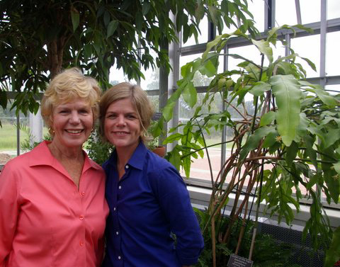 Margaret & Mabel Baldwin in the Conservatory.