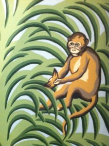 Monkey pulling tail wallpaper
