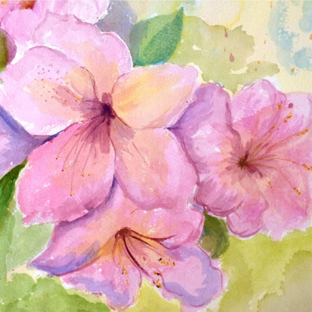 """""""In the Pink"""" by Paula Dabbs, created with colored inks.  (Dr. P.H. Martin brand)"""