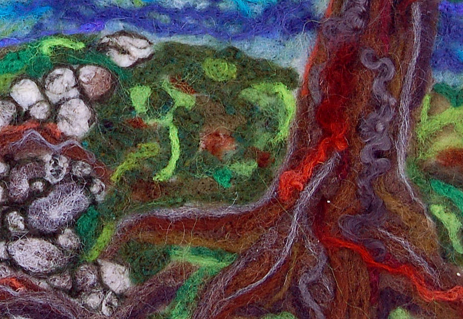 A botanically inspired felt landscape, by instructor Judy Thomas.