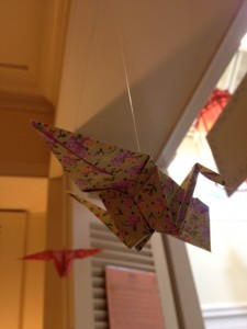 My first origami crane taking flight in the RVC.