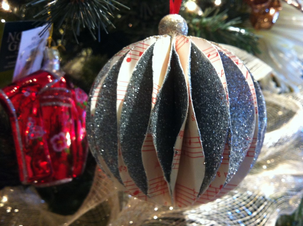 Sheet music origami ball ornament $9.95