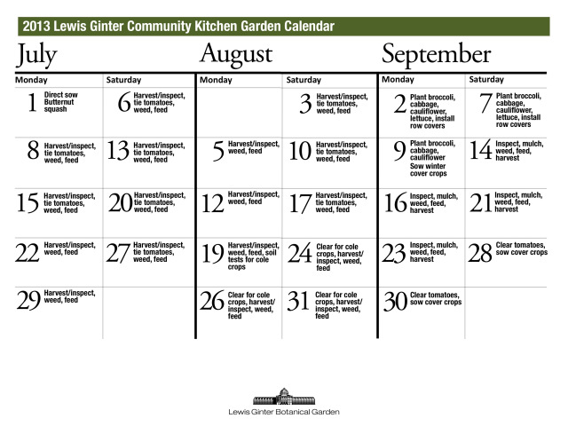 July through September Schedule