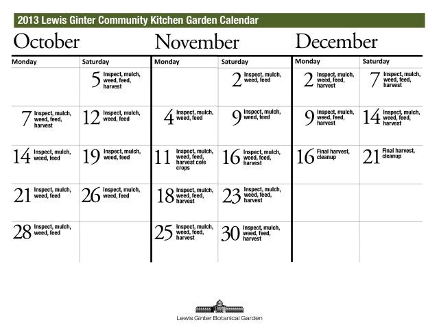 October through December schedule