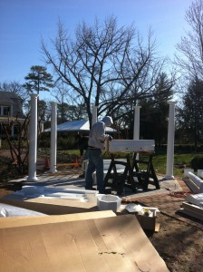 During construction: a work in progress, columns going up on the summer house.