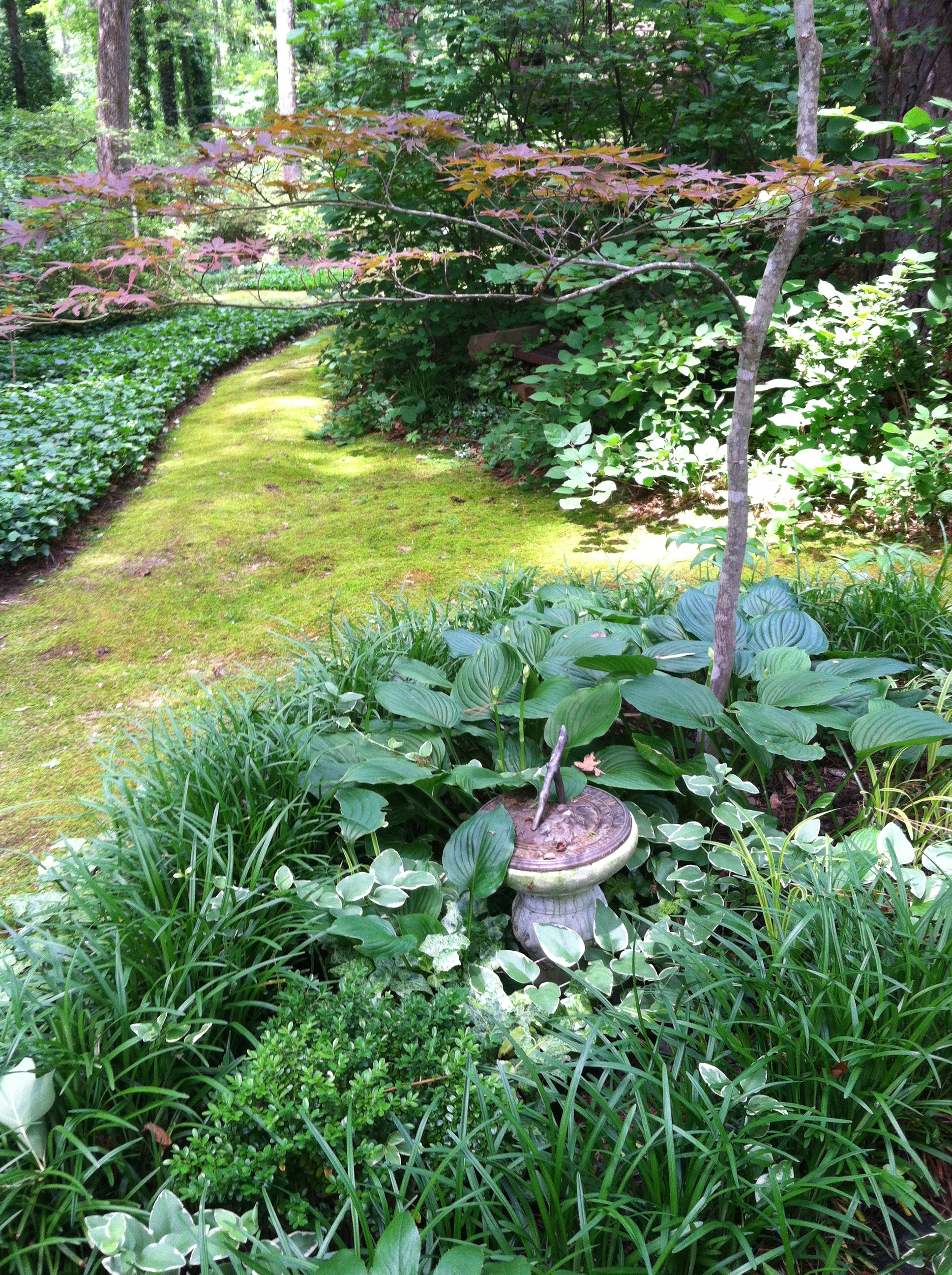 Peaceful Mossy Path Bordered By Shade Perennials And Accented By Garden  Ornaments Such As This Sundial