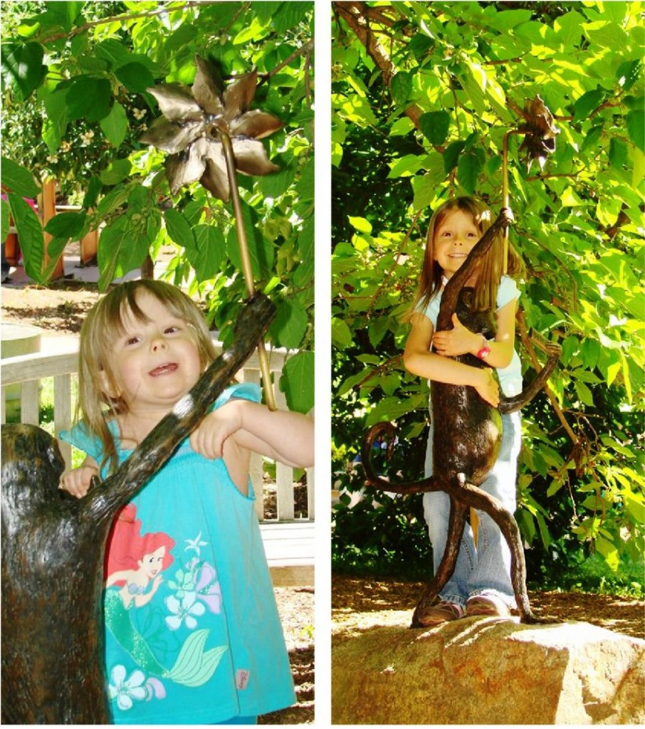 Our youngest daughter with the Monkey in the Children's Garden. Taken 3 years apart.