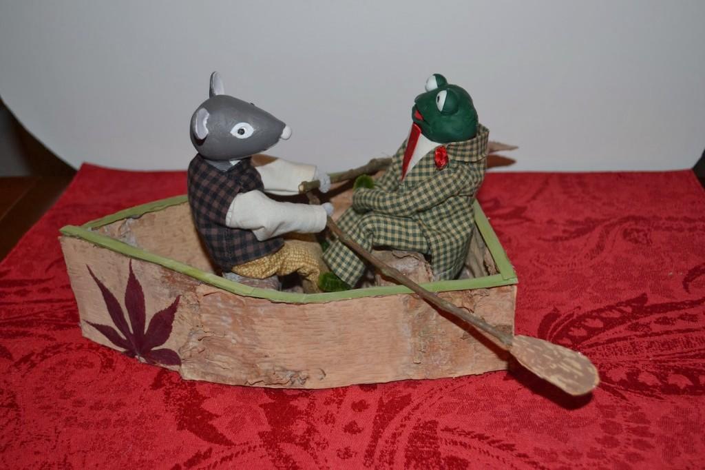 Ratty and Mr. Toad in their row boat