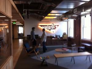 Yelp's reception area. Bright lights, big city.
