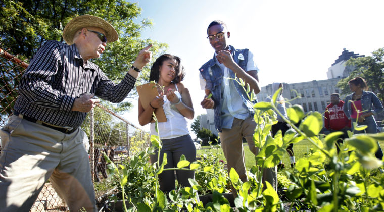 Leonard Morrow, left, shows Thomas Jefferson high school students Yasmin Nolan, 16, center, and Deonte' Terry, 17, some of the plants in the garden across for the school, in Richmond, Va.  (AP Photo/Richmond Times-Dispatch, Alexa Welch Edlund)