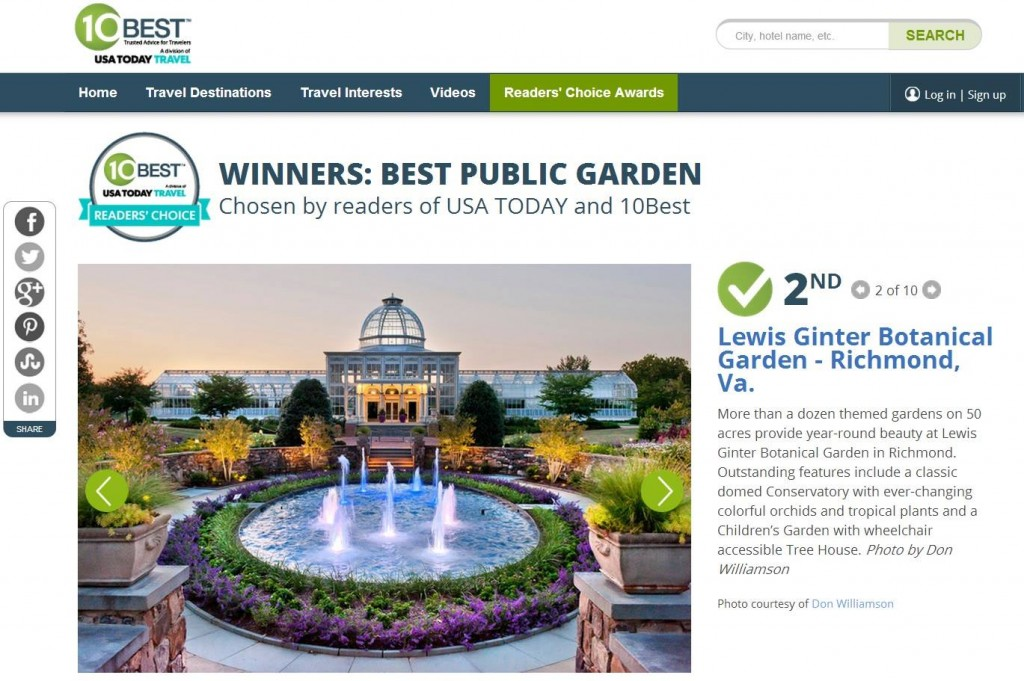 USAToday's 10Best Readers Choice 2nd Best Public Garden in North America.
