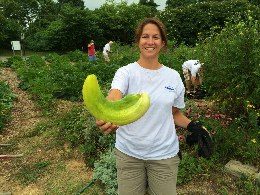 Erica with a Giant Cuke