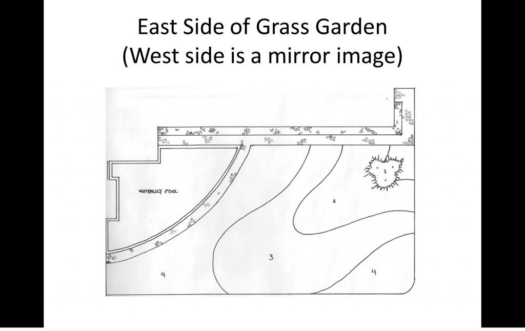 Drawing of ornamental grass garden design.