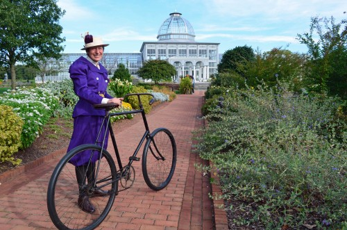 Woman's cycling costume inspired by 1890s Lewis Ginter Botanical Garden