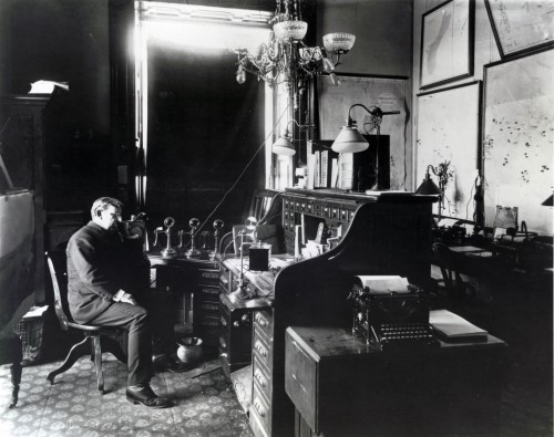 Lewis Ginter at his desk.