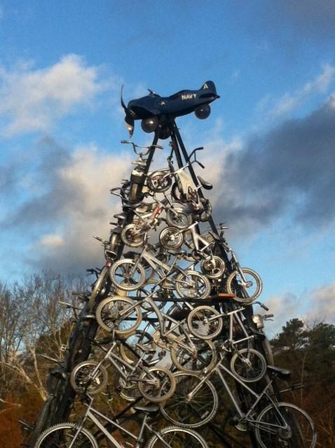 bike plane sculpture in the Rose Garden