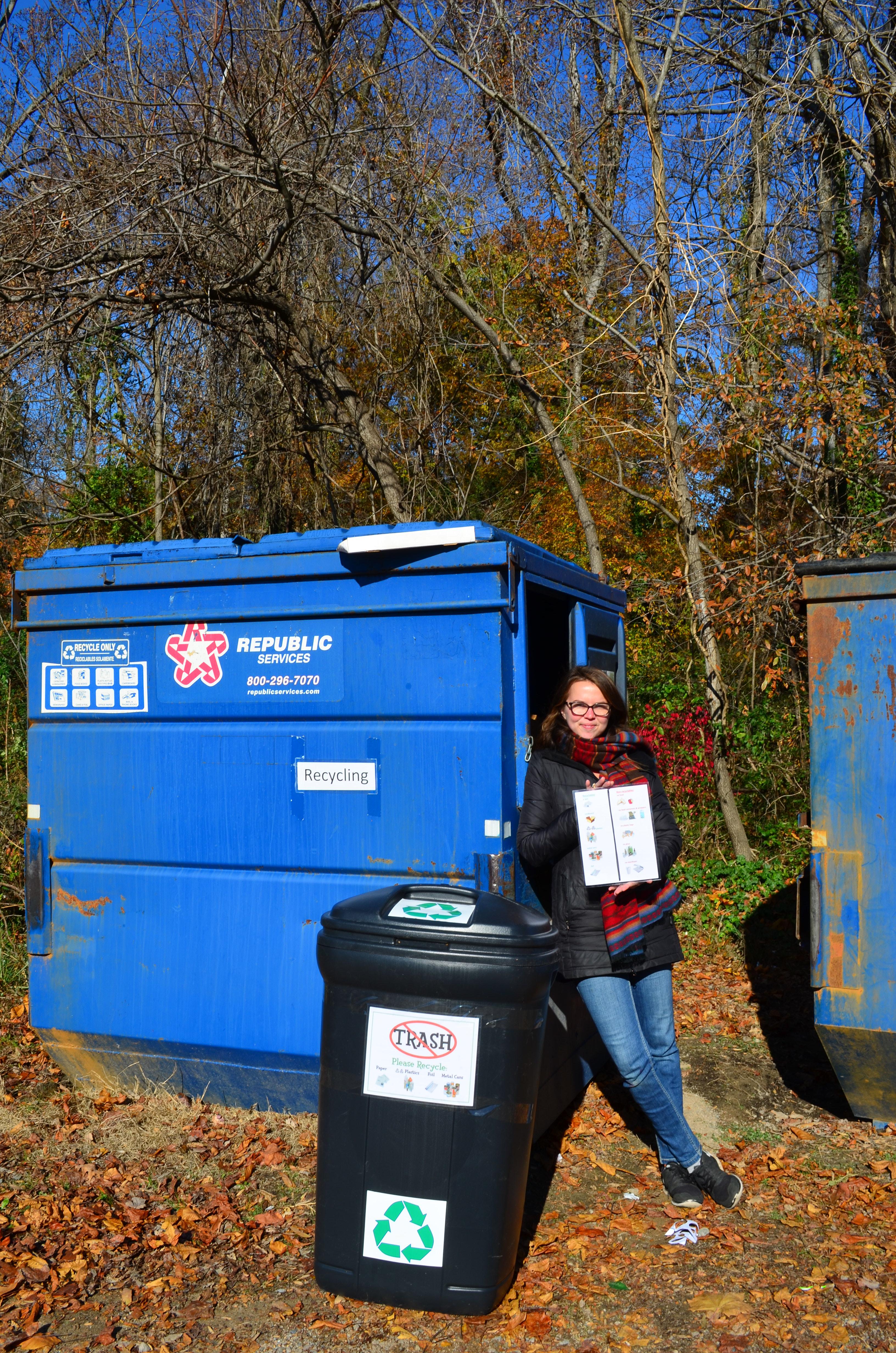 nicki and recycling bin
