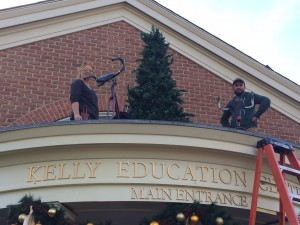 setting up reindeer bikes on the Kelly Education Center.