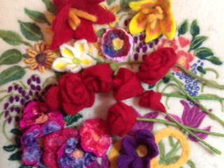 felt flowers in red, white, yellow purple and orange!