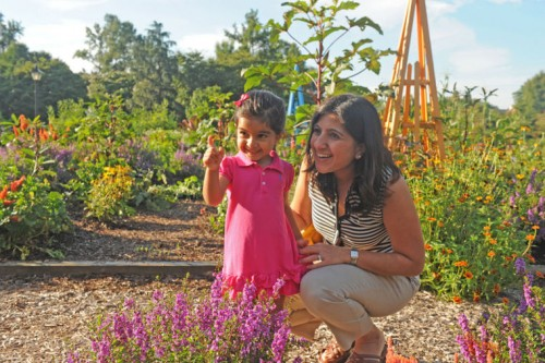 Mom and daughter learning in the Children's Garden at Lewis Ginter Botanical Garden.
