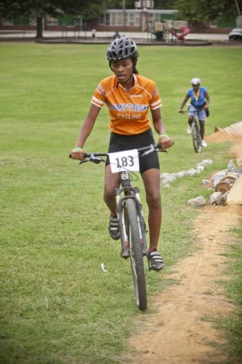 Diamond Womack on the Armstrong bike skills course.