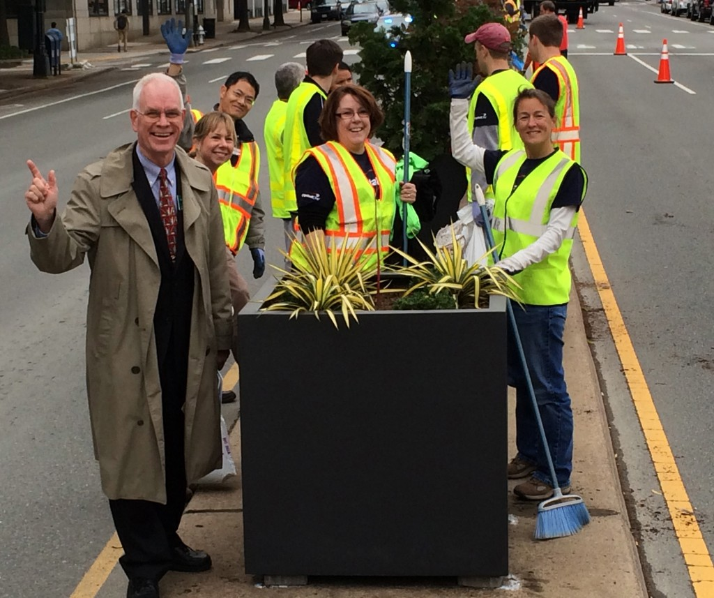 Executive Director Shane Tippett with volunteers working on the Broad Street beautifulcation