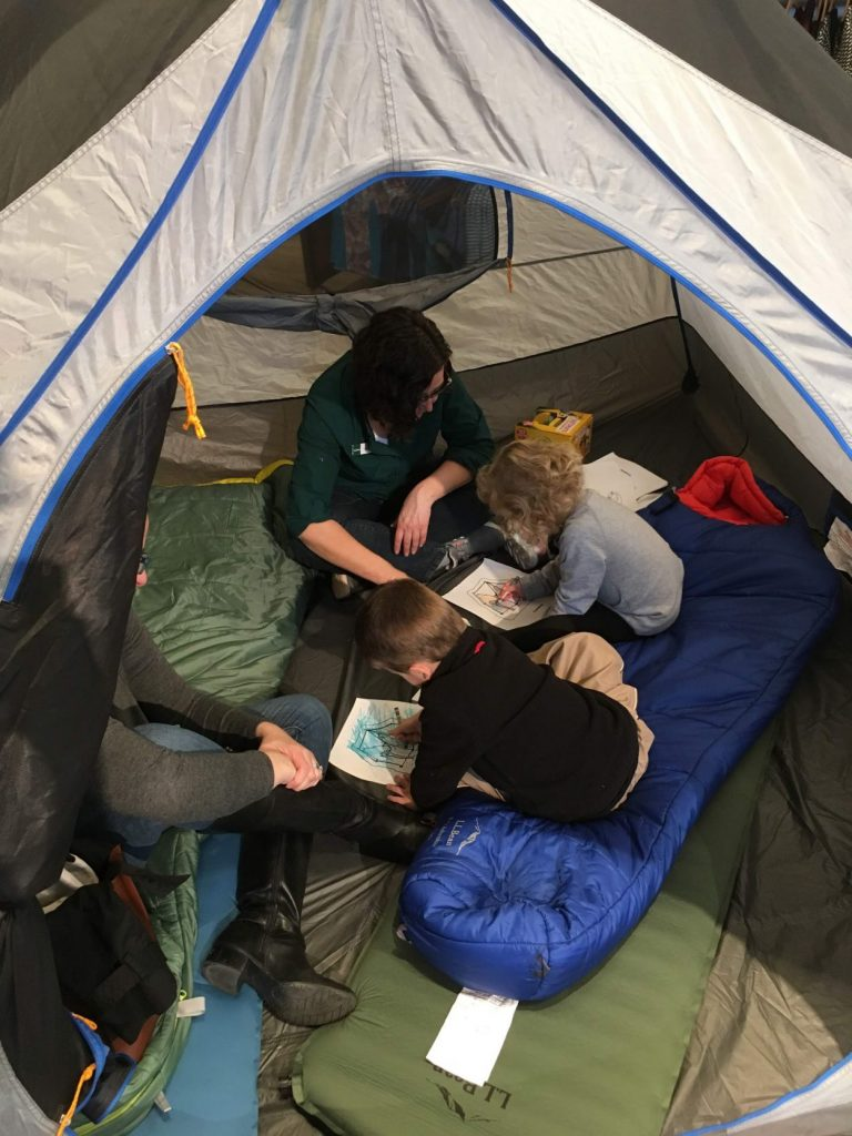 Camping with kids in tent