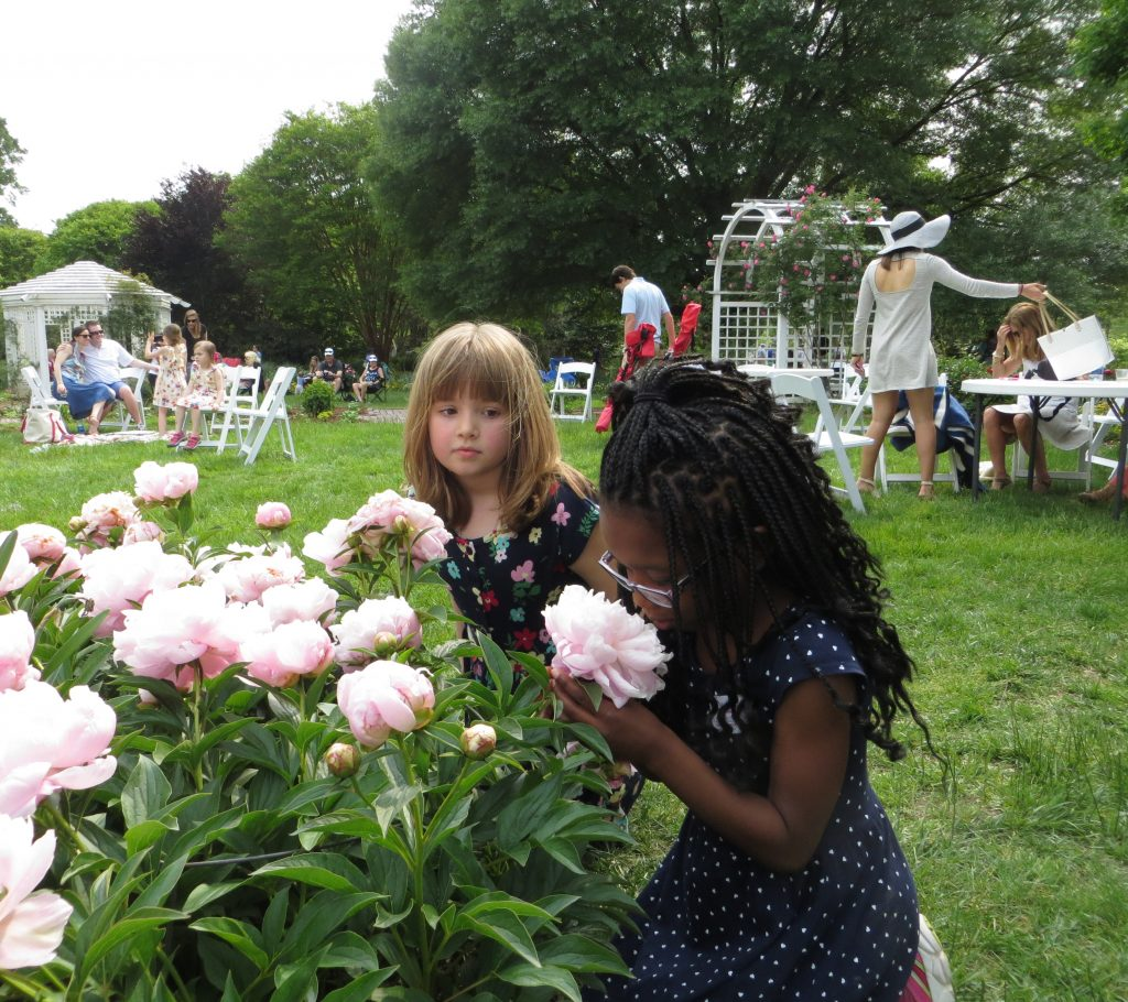 Mothers Day visitors enjoying the blooms at Lewis Ginter Botanical Garden