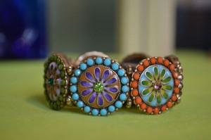 Bracelet, enameled colorful