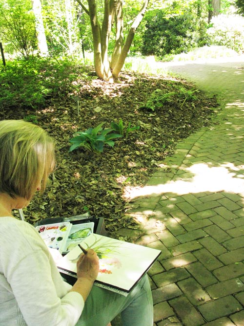 Patti Bartol captures the beauty of the Garden with her paints.