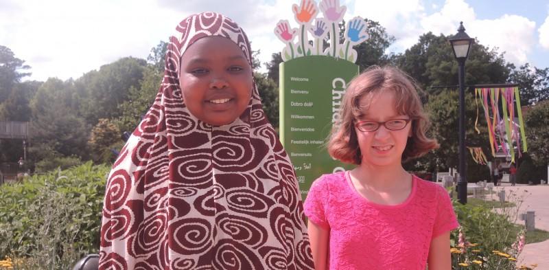 Amina Abdulkadir and Lilah Monroe in the Children's Garden.