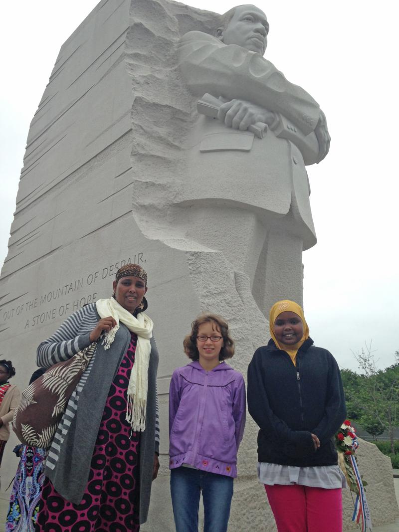 Isnina, Lilah and Amina at the Martin Luther King, Jr. Memorial