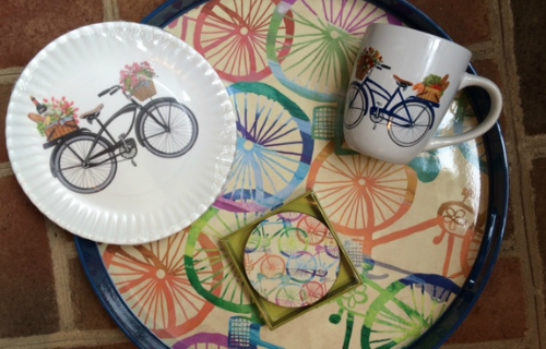coaster, plate, coffee mug and serving tray with bicycle motifs
