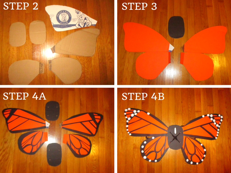 Four images of steps 2 through 4 of Monarch costume