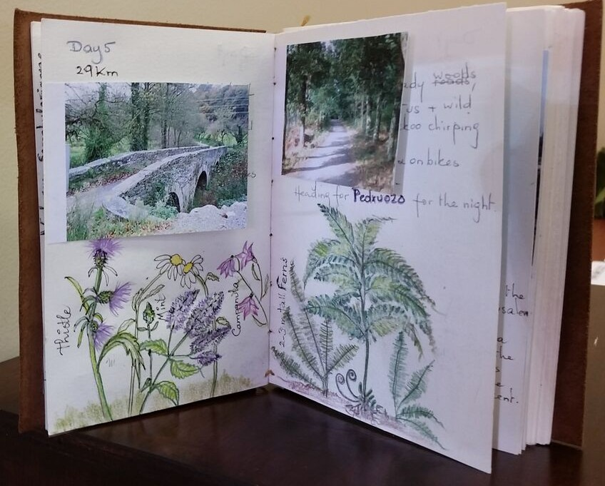 Anne McCahills travel journal is compiled of handmade papers.