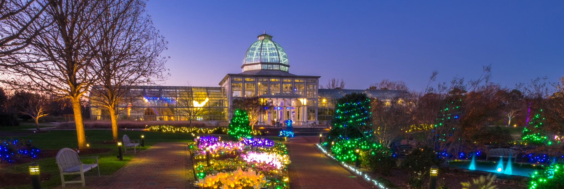 Holiday lights at dominion gardenfest of lights at lewis ginter botanical garden for Lewis ginter botanical gardens christmas