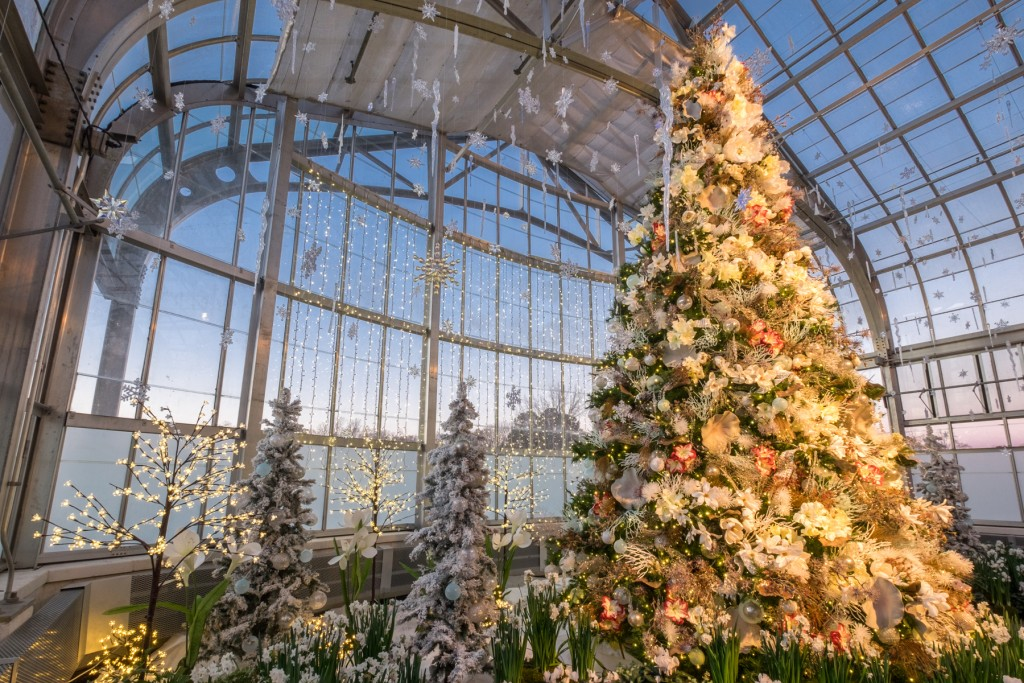 20-foot holiday tree with holiday lights and flowers. Image by Harlow Chandler