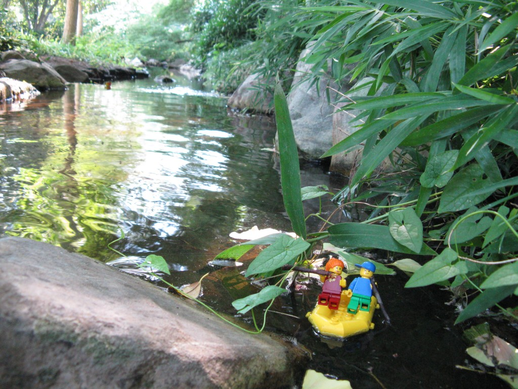 LEGO brick figurine visiting Lewis Ginter Botanical Garden