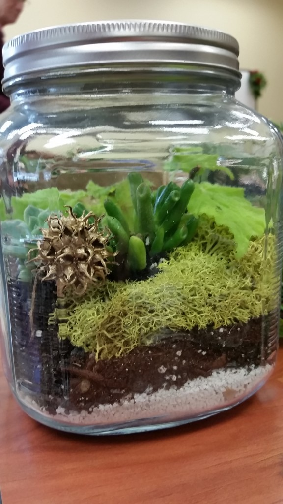 A glass jar can be layered with pebbles, soil and plants as an DIY living gifts.