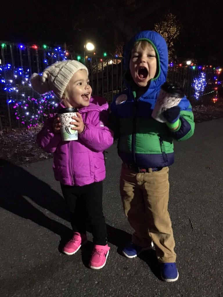 Kids enjoying hot cocoa