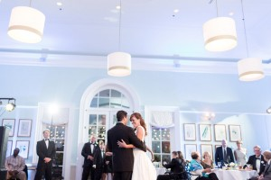 Newly married couple dancing at the Robins Visitor Center reception. Image by Mary Otanez Photography.